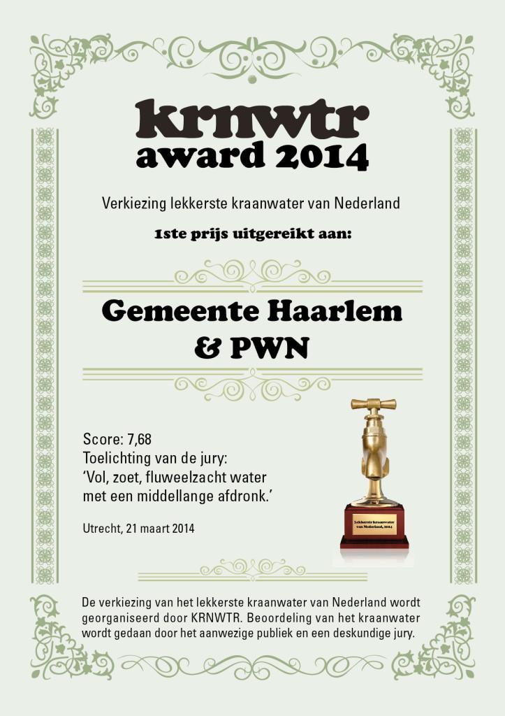 oorkonde KRWNTR award 2014
